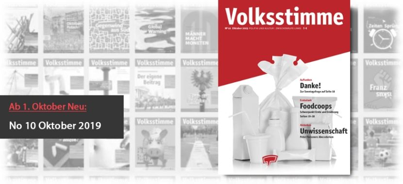 Volksstimme Cover Zeitung Oktober 2019