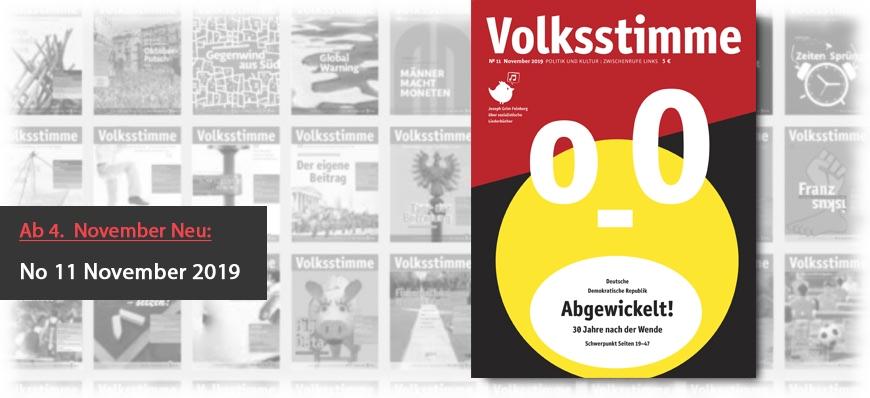 Volksstimme Cover Zeitung November 2019