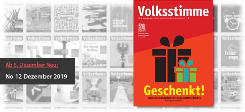 Volksstimme Cover Zeitung Dezember 2019