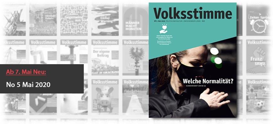 Volksstimme Cover Zeitung Mai 2020