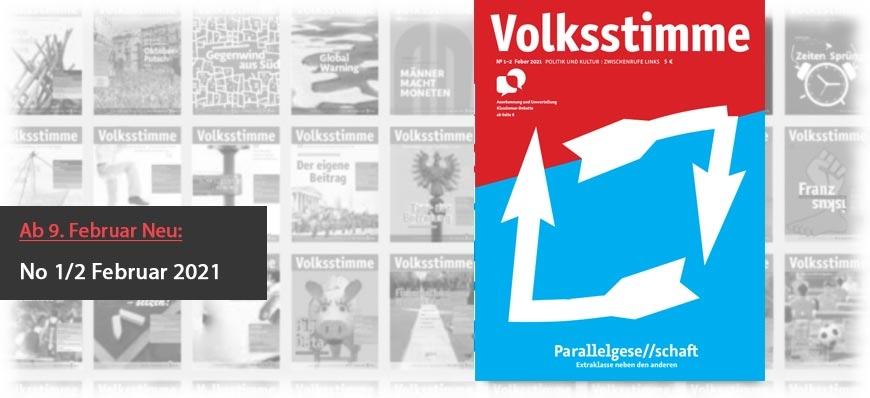 Volksstimme Cover Zeitung Jänner / Februar 2021